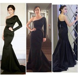 Black Satin One-Shoulder Long Sleeve Mermaid Formal Evening Dresses Sweep Train Elegant Party Prom Dress Pageant Gowns Exquisite Vestidos