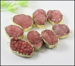 5pcs Nature Druzy Crystal stone Connector in red color,Quartz Drusy gemstone Connector, Gold Plated Druzy Pendant