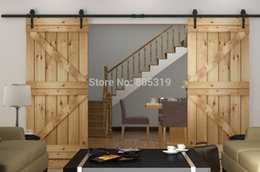 Wholesale 8 ft sliding barn door track hardware Double interior black rustic Arrow style Barn door wheel