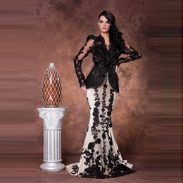 Saudi Arabia Mermaid Long Evening Dress Long Sleeve Prom Dress Robe De Soiree Long black and White lace Evening Gowns Mother of Bridal Dress