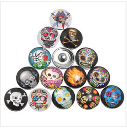 15% off 2015 new 18mm Snap Buttons Fit DIY Press Noosa Snap Bracelets Skull Pattern Mixed,Snap Button Bracelets,drop shipping 240pcs