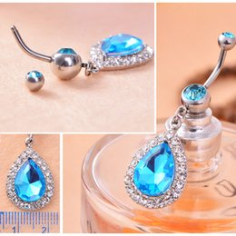 Wholesale-Waterdrop Piercing Jewelry Crystal Rhinestone Belly Button Bar Navel Dangle Ring Surgical Steel