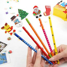 Wholesale 6 set Santa Snowman Tree Bell Cartoon Wooden Pencils Christmas Gifts For Children