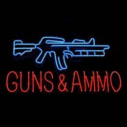 Wholesale 17 quot x14 quot Guns And Ammo design Real Glass Neon Light Signs Bar Pub Restaurant Billiards Shops Display Signboards