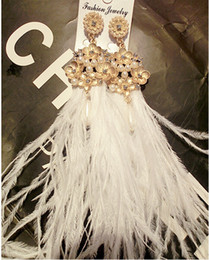 Occident Fashion Vintage Baroque Luxury Style White Feather Ostrich Fur Metal Flower Long Style Tassel Earring