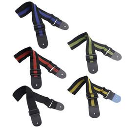 Ajustable durable tejido de nylon correa de la guitarra con extremos de cuero para eléctrico acústico guitarras folk alta calidad I1149 desde guitarra acústica de nylon fabricantes