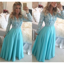 Light Sky Blue Lace Chiffon Peplum Pearls Long Elegant Evening Dresses With Long Sleeve Plus Size Formal Dresses Celebrity Dress sh0022