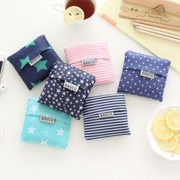 Wholesale Hot Unisex Women Star Dots Striped Reusable Portable Shopping Bag Grocery Handbags Tote Environmental Folding Holders Bags ak060