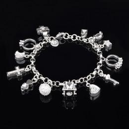 Best gift hot sale 925 Silver Crystal gemstone fashion jewelry cross moon charms silver women bracelet free shipping