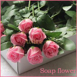 Wholesale 2015 Valentine Gift Multicolor Soap Red Rose Soap Flowers Bath Flower Soap for Girlfriend Birthday Wedding Gift Rose Paper Soap