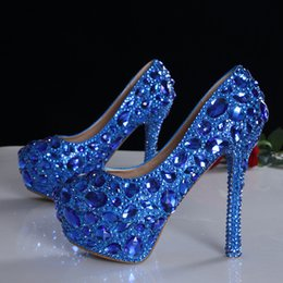 Wholesale 2016 Luxury Blue Black Crystals Diamond Wedding shoes high heeled bridal shoes waterproof nightclub High Heels Blingbling pumps