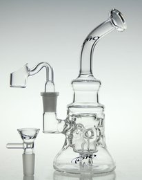 Ongles en verre pour l'huile en Ligne-Scientique-verre bong! Recycleur de verre Nouveau verre bong pétrolier diamant tube de verre avec un clou de quartz et bol 14,4mm joint