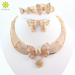 Romantic Wedding Accessories 18k Gold Plated African Jewelry Sets With Crystal Bow-Knot Necklace&Earring Set Wedding Accessories