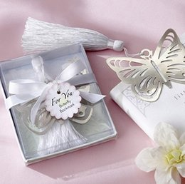 Wholesale Gift Box Silver Beautiful Metal Butterfly Hollow Bookmark with tassel For Books wedding favors gifts
