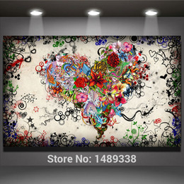 Abstract Modern wall art heart flowers Painting On Canvas Canvas Prints Painting Pictures Decor For Living Room