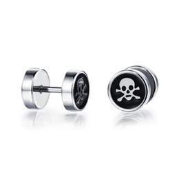 8mm Skull Day of the Dead Ear Plugs Screw-on Black Stainless Steel Circle Stud Earrings with Skull Design