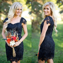 2016 New Country Bridesmaid Dresses Sweetheart Cap Sleeves Full Lace Short Mini Red Black Cheap Sheath Plus Size Wedding Guest Wear Gowns