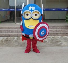 Wholesale Hot love minion x captain america Cartoon Fancy Dress Mascot Costume Adult Suit Express