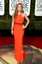 Wholesale The rd Golden Globe Awards Red Carpet Dresses Amy Adams Orange Sheath Long Evening Prom Gowns Beaded Decoration Simple Cheap