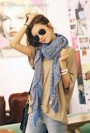 Bohème rétro foulards gros à vendre-Vente en gros-1PC 80 * 180cm bohème style multi cercle imprimé long écharpes rétro mélange de coton / WJ-186