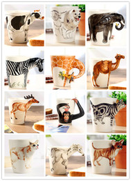 Wholesale new Creative gift novely D animal shape ceramic coffee milk tea mug hand painted caneca Giraffe Cow Monkey Dog Cat Camel Elephant Zebracup