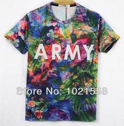 Vacances graphiques en Ligne-2015 femmes / hommes habits de fête des fleurs de ARMY graphique T-shirt 3D de la mode à manches courtes en coton T-shirt personnalisés Creative Tees