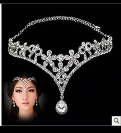 Wholesale Korean Style Women Austria Crystal Flower V Shape Water Drop Crown Tiara Hairwear Wedding Bridal Jewelry Accessory Head Piece