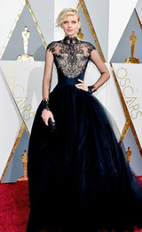 2016 Oscars Awards Dorith Mous Celebrity Dresses with Shee neck Lace A Line Tulle Long Sleeve Navy Blue Formal Evening Party Gowns