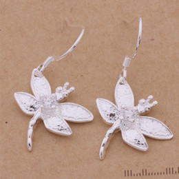 Fashion (Jewelry Manufacturer) 40 pcs a lot Dragonfly with diamond earrings 925 sterling silver jewelry factory price Fashion Shine Earring