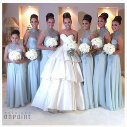 Sheer High Neck Long Bridesmaid Dresses 2016 Capped Sleeve Appliqued Lace Chiffon Keyhole Back Sky Blue Junior Adult Bridesmaid Dresses