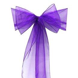 100 Pierces Dark Purple couleur Organza Sash Chaise Housse Bow Banquet Mariage Décoration Nouveau 2015 à partir de arcs décorations mariage fabricateur