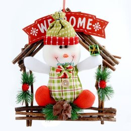 Wholesale 2015 Animated Merry Christmas Decor Artificial Flowers Round Garland With A Snowman New Year Door Decorations Ornament For Home