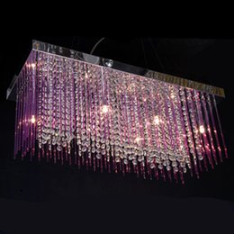 Romantic Long color glass rod & clear crystal pendant lights luminaria Dining room Kitchen coffee shop Bar lighting led crystal chandelier