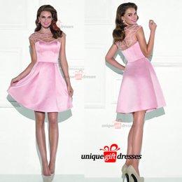 Tarik Ediz short dresses for prom Sheer Neck Knee length Lace Evening Gowns New Arrival W6754