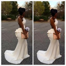 2016 Backless Mermaid Prom Dresses Sweep Train Black Girl Dresses Party Evening with Scalloped Back Tiers Young Girl Homecoming Gowns