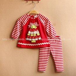 Wholesale Kids Clothes Suit Autumn Girls Set Christmas Tree Pattern Striped T Shirt Pants Children Clothing Set Fit Age T1684