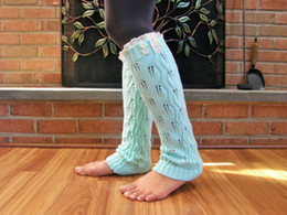 Wholesale-Womens Aqua Blue Lace Legwarmers Boot Toppers Knit Lace Boot Cuffs, Ladys Aqua Lace Boot Socks