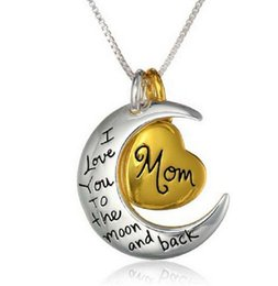 """Family Gifts Statement Necklace Moon Pendants For Brother """" I Love You To The Moon And Back """" DIY Jewelry Pendants Chains"""