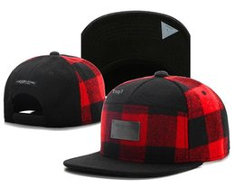 Wholesale Brand C S BL PLATED CAP red black grid wool snapback hat for men women adult sports hip hop street outdoor sun baseball cap