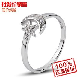 Lord of the Rings Pentagram Star Moon Represents My Heart diamond ring tail ring wholesale new lady money