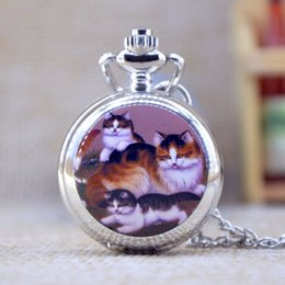 Wholesale New Fashion Silver Elegent Lovely Cat with Mirror Case Quartz Pocket Watch Analog Pendant Necklace Mens Womens Gifts P346