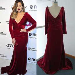 Wholesale Khloe Kardashian Oscar Dresses Wine Red Christmas Velvet Evening Dresses Long Sleeves Mermaid Velvet Red Carpet Celebrity Dresses Real Image