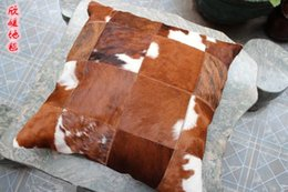 Wholesale piece natural cow leather pillow with magnet
