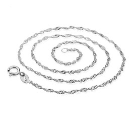 Fashion 925 Silver Water Wave Chain 1.3mm 18inch Chain fit DIY Pendant Necklace Free Shipping