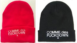Wholesale 2016 hats for hiphop bigbang g dragon comme des fuck down embroidered skull beanie winter warm ski cap