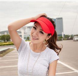 Wholesale-6Colors Cotton Sun Visor Hat Cap Sport Tennis Baseball Golf Beach Adjustable Women Men