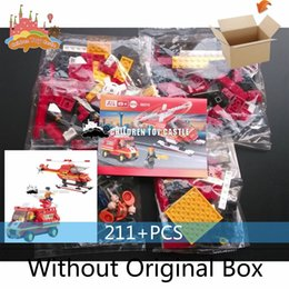 Wholesale NEW Sluban Airport fire brigade Fire engine Fire helicopter building blocks learning education toys for children Compatible With legoe
