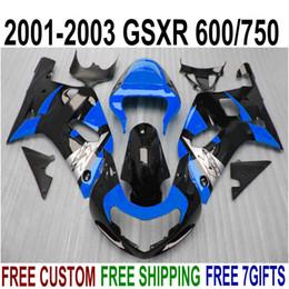 Customize fairings set for SUZUKI GSXR600 GSXR750 2001-2003 K1 blue black fairing kit GSXR 600 750 01 02 03 EF25