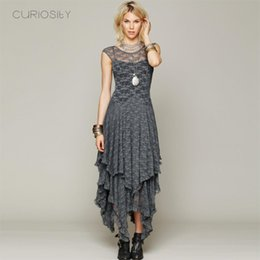Wholesale Boho People hippie Style Asymmetrical embroidery Sheer lace dresses double layered ruffled trimming low V back No lining bridesmaid dress