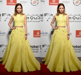 Wholesale Zuhair Murad Two Piece Prom Dresses Jewel Floral Embroidered Long Limelight Yellow Emily Blunt Dubai Wear Celebrity Evening Gown